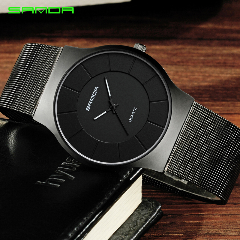 SANDA Mens Watches Top Brand Luxury Rose Gold Steel Mesh Men Quartz Watch Fashion Business Male Wristwatches Relogio Masculino