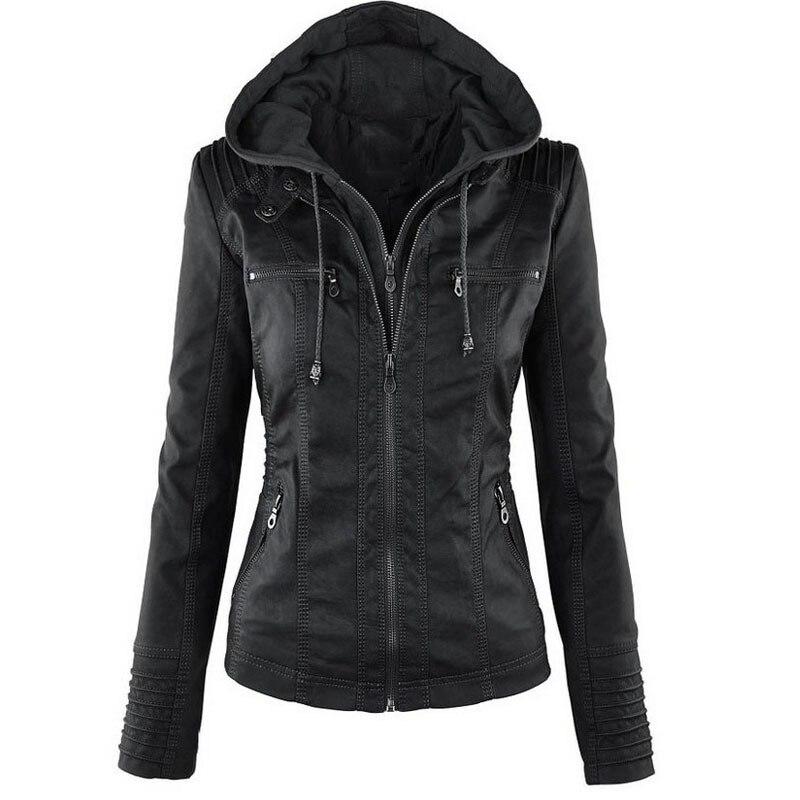 2018 Winter Gothic Leather Jacket Women Casual Basic Coats Plus Size 7XL Basic Jackets Waterproof Windproof Coats Female