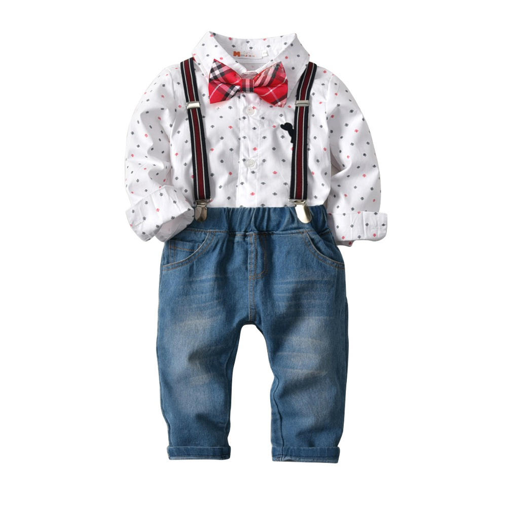 Cute Kids Boys Outfits Suits Cartoon White Shirts Tees and Overall Denim Pants 2pcs Sets Spring