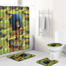 Camouflage African Girl Printed Waterproof Shower Curtain Toilet Lid Cover Bathroom Bath Mat Carpet Set