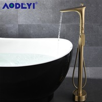 AODEYI Brushed Gold Freestanding Bathroom Floor Stand Bathtub Tap Shower Mixer Faucet with Hand Held Shower 17 006