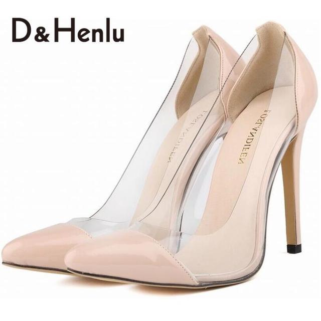 {D & H} Marca Calçados Mulher Vestidos Transparentes de Salto Alto Mulheres Sapatos Da Moda Mulheres Bombas Sexy meias de Presente sapatos femininos de salto
