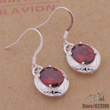 AE245  silver earrings ,silver plated  fashion jewelry , fiery earring inlaid red stone /eukanlra ggwaoyda