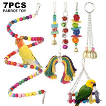 7 Styles Parrot Toys Wood Birds Swing Standing Chewing Rack Toys Bead Ball Tassels Hammock Hanging Bird Toys Accessories(China)