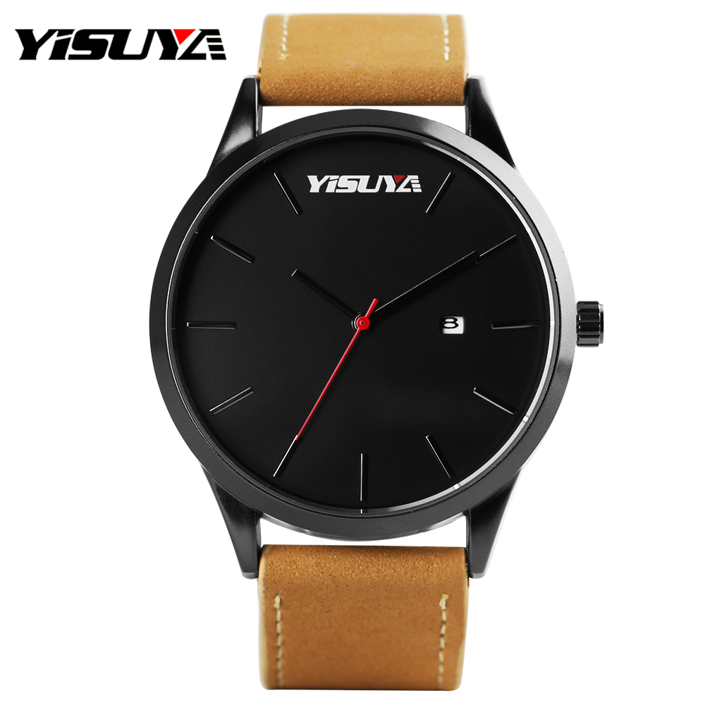 YISUYA Men Watches Fashion Genuine Leather Quartz Wrist Watch Top Brand Luxury Men Clock Male Business Watch relojes hombre saat onlyou brand lovers watch women men quartz genuine leather wrist watches fashion business female male clock with calendar 81092
