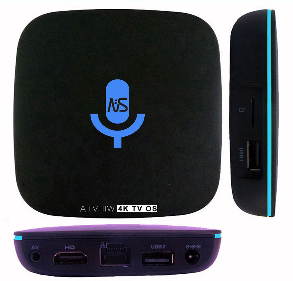 1pcs ATV-IIW S905W 4K Voice Control Smart Android TV OS box Streaming Box Support Google ...
