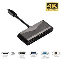 USB C к HDMI адаптер 4K type-C к HDMI/VGA/аудио/USB 3,0 порт + USB C порт (PD) конвертер для ноутбука Macbook переключатель