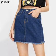 463fdf8df6 ROMWE Fray Hem Mini Denim Skirt Woman Blue Casual High Waist Sexy Pencil  Skirts 2017 Summer Sweet Ladies Bodycon Skirt