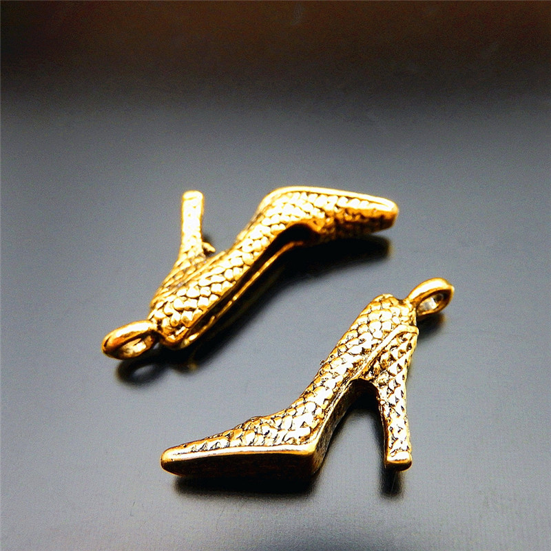 New Arrivals 20 PCS Antique Gold-color Women Lady High-heeled Shoes Zinc  Alloy Pendant Jewelry Metal Findings Handmade Crafts 5d1ae04822b