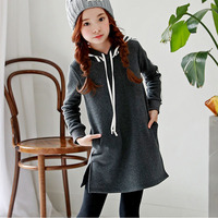 Hooded Winter Dress For Girls 10 To 12 Years Long Sleeve Autumn 2017 Hoodies Girls Dresses