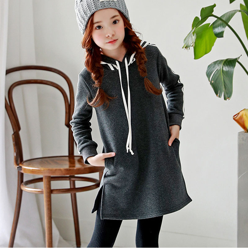 Hooded Winter Dress For Girls 10 To 12 Years Long Sleeve -1155