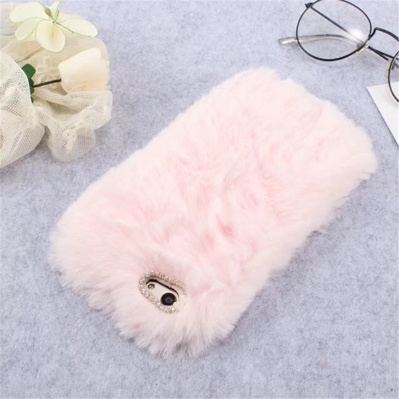 Luxury Warm Rabbit Fur Hair Case For OPPO A83 A79 A77 A71 A59 A57 A53 A73 Case For OPPO F7 F5 F3 F1 F1S Diamond Soft TPU Cover