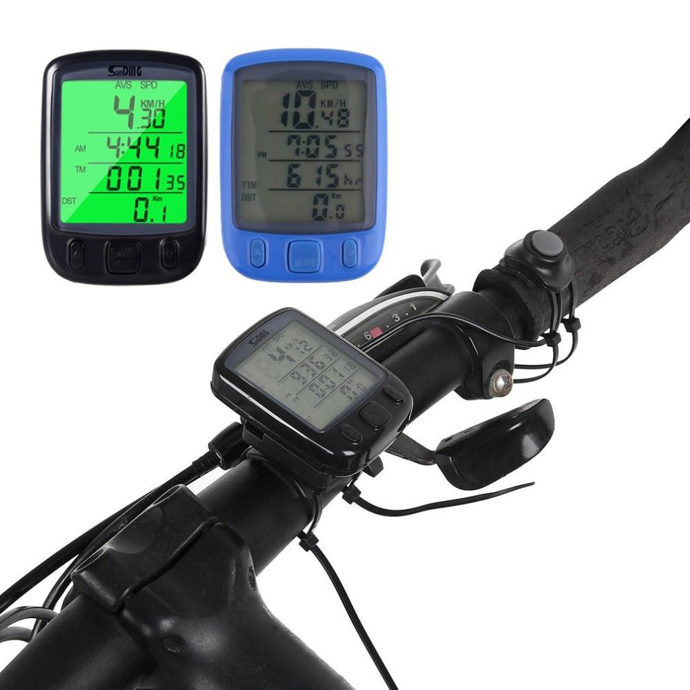 цена на 2018 563B Waterproof LCD Display Cycling Bicycle Wired Computer Odometer Speedometer Waterproof Speedometer with Green Backlight