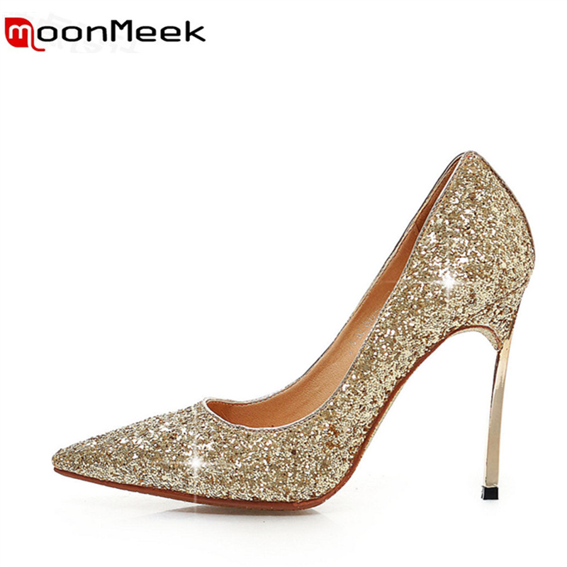 ФОТО MoonMeek new arrive super high glitter single shoes fashion women thin heels pumps simple shallow ladies sexy prom shoes