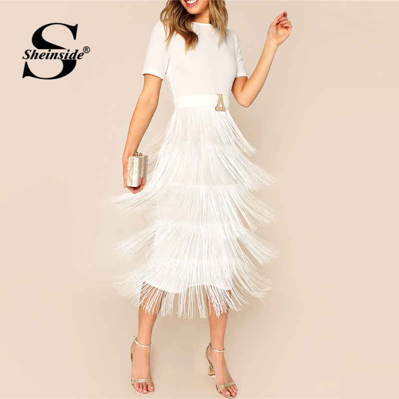 Sheinside White Elegant Layered Fringe Detail Party Dress Women 2019 Summer Back Split Pencil Dresses Ladies Solid Midi Dress