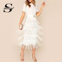 Sheinside White Elegant Layered Fringe Detail Party Dress Women 2019 Summer Back Split Pencil Dresses Ladies Solid Midi Dress