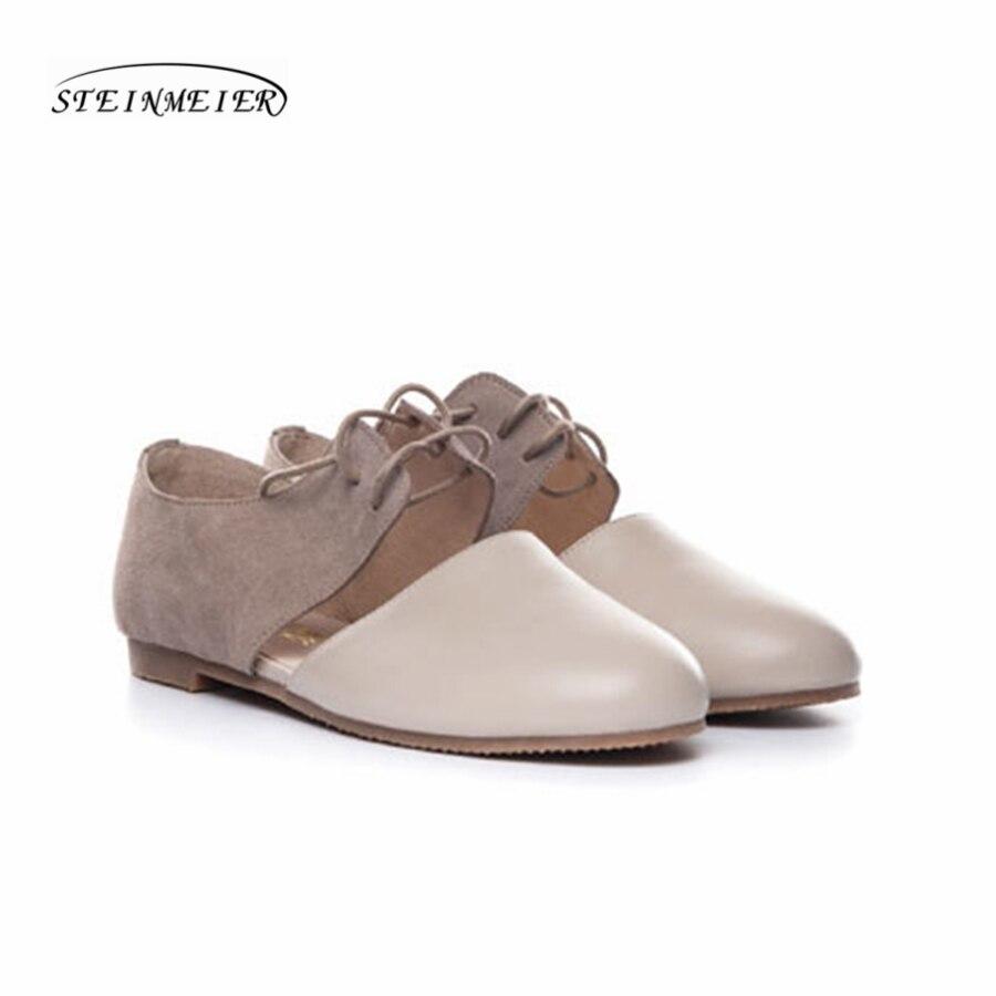 Frauen flach sommer sandalen schuhe handgemachte beige vintage Retro grau leder runde kappe lässig süße bequeme sandalen schuhe-in Flache Damenschuhe aus Schuhe bei  Gruppe 3