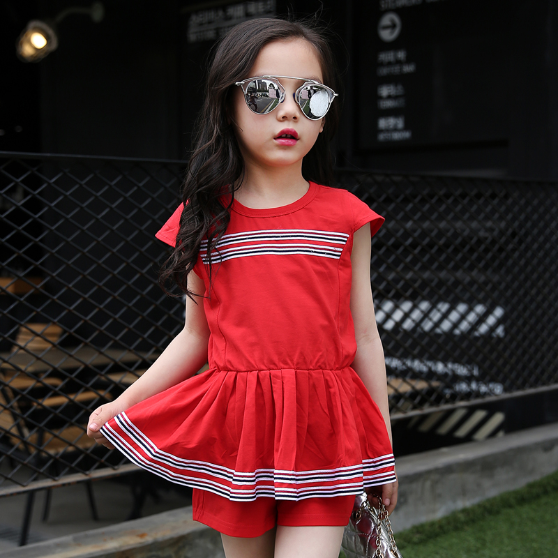 2 3 4 5 6 7 8 9 Years Baby Girls Clothes Set Kids Fashion Clothing Summer Costume School Shirt +  Shorts 2pcs Stripedtrackwuits fashion kids baby girl dress clothes grey sweater top with dresses costume cotton children clothing girls set 2 pcs 2 7 years