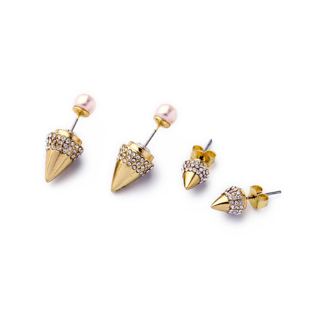2016 Double Side Titan Pearl Spike Earrings Gold Plated Pave Crystal Cone Earring Brand V F Jewelry Factory Wholesale