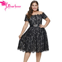 Dear Lover New Summer Black Short Sleeve Off shoulder Lace Plus Size Dress for Women 5XL A Line Dress Lace Party C611038