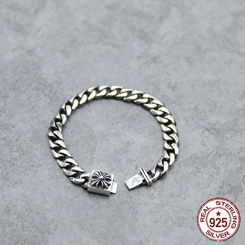 100% s925 Sterling Silver Bracelet Personality Fashion Personality Jewelry Punk Style Simple Cross Shape 2018 New Style Sale100% s925 Sterling Silver Bracelet Personality Fashion Personality Jewelry Punk Style Simple Cross Shape 2018 New Style Sale