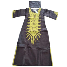 MD south africa lady dashiki dress embroidery bazin dresses for women traditional long with turban african wedding party