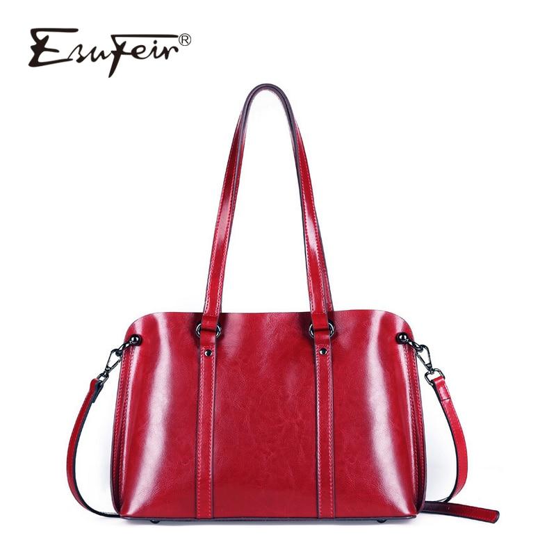 все цены на ESUFEIR 2018 Oil Wax Genuine Leather Ladies Handbag Solid Zipper Shoulder Bag Crossbody Bag Casual Large-capacity Women Handbag