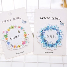 South Korean creative stationery beautiful wreath convenience stick spring flower message note 30 exquisite bookmark school memo(China)