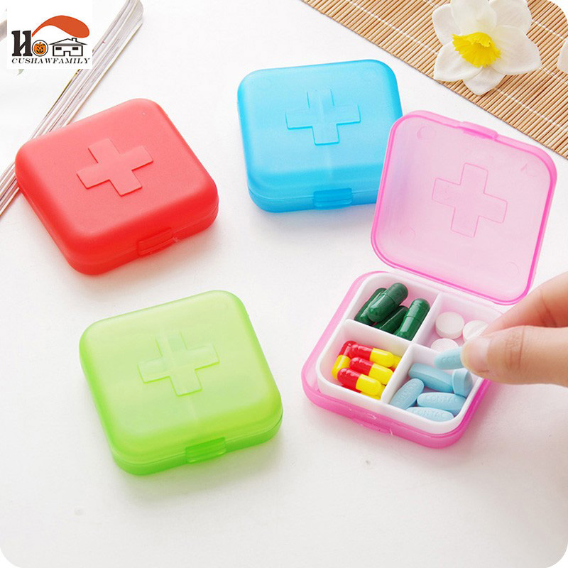 CUSHAWFAMILY 1pcs New Portable 4 Slots Pill Cases Jewelry candy box Storage Box Vitamin Medicine Pill Box Storage Case Container