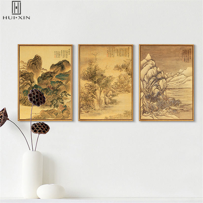 Chinese Tradetional Watercolor Pictures Squint Style Of Mountain River Woods Animals Canvas Decorative Paintings For Home Decor