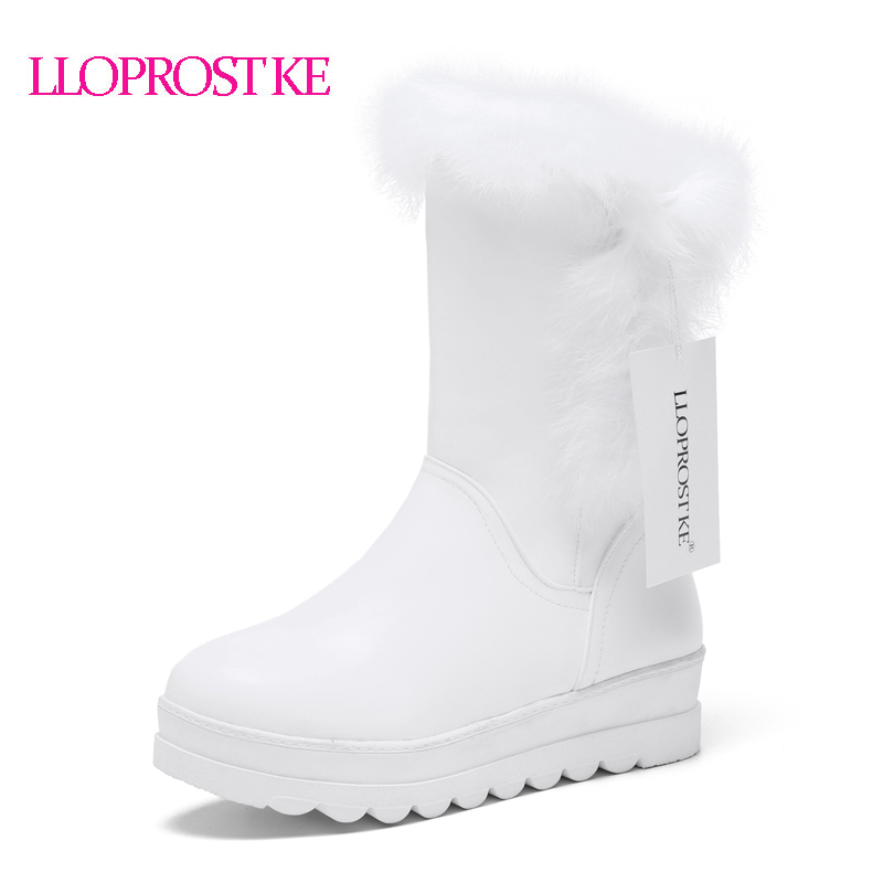 LLOPROST KE HOT 2017 Winter Keep Warm Snow Boots Women Cotton Shoes Fashion Platform Down Fur Boots Mid- calf Boots Botas ML026 2016 new warm snow boots women plush winter mid calf boots fashion wedding shoes brand lady botas flat shoes