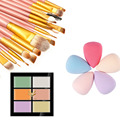 6 Colors Pro Face Concealer Cream Cosmetic Camouflage Makeup Contour Palette + 20Pcs Makeup Brush Set + Cosmetic Sponge Puff