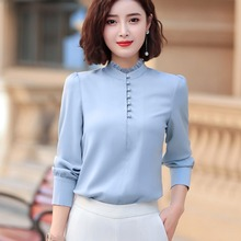 New Women Full Sleeve Beading Blouse Shirt Elegant Office Lady Work Wear Business Style S-4XL Stand Collar Tops