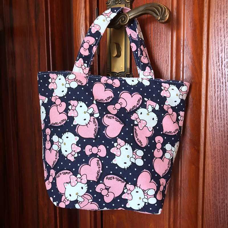 Hello kitty Lunch Bag Cartoon Cute Bags Canvas Picnic Travel Storage Bag  Fashion Lunch Bags for d614054eca7b1