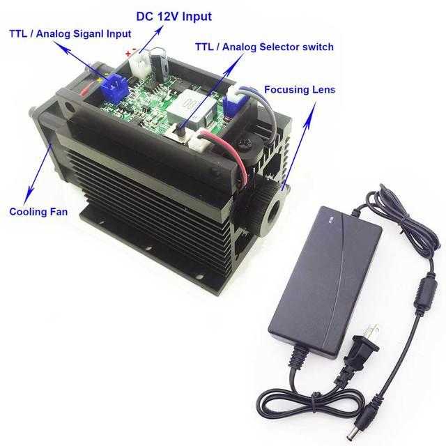 Лазерная головка высокой мощности 15 Вт, лазерная гравировальная машина ЧПУ детали синий модуль принтер TTL гравировка резки для металла фанеры diy