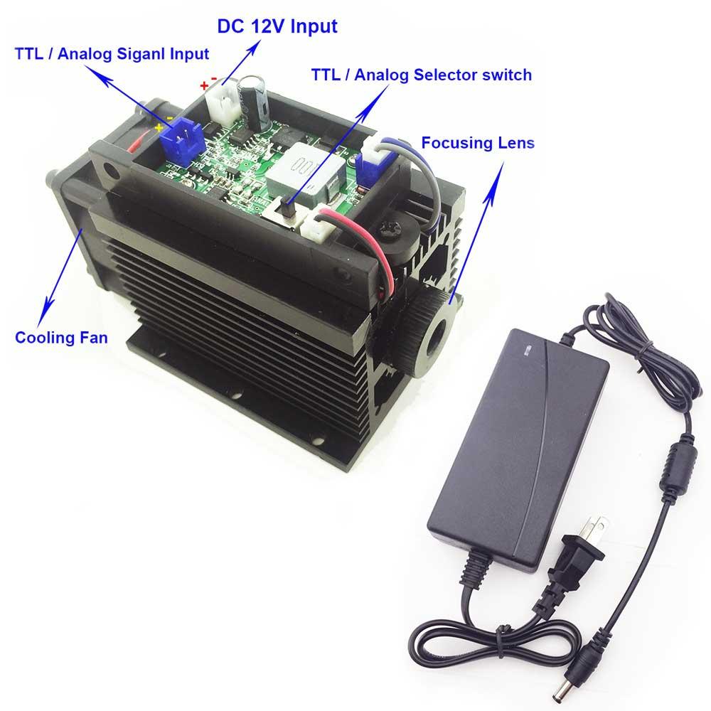 Potente láser cabeza 15 W 15000 MW máquina de grabado láser Módulo de láser de alta potencia azul 450nm TTL/PWM cortador grabador CNC bricolaje