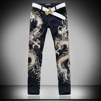 New Brand Famous Men Jeans Original Personalized Flower Painted Skinny Pants For Men Slim Pencil Pants