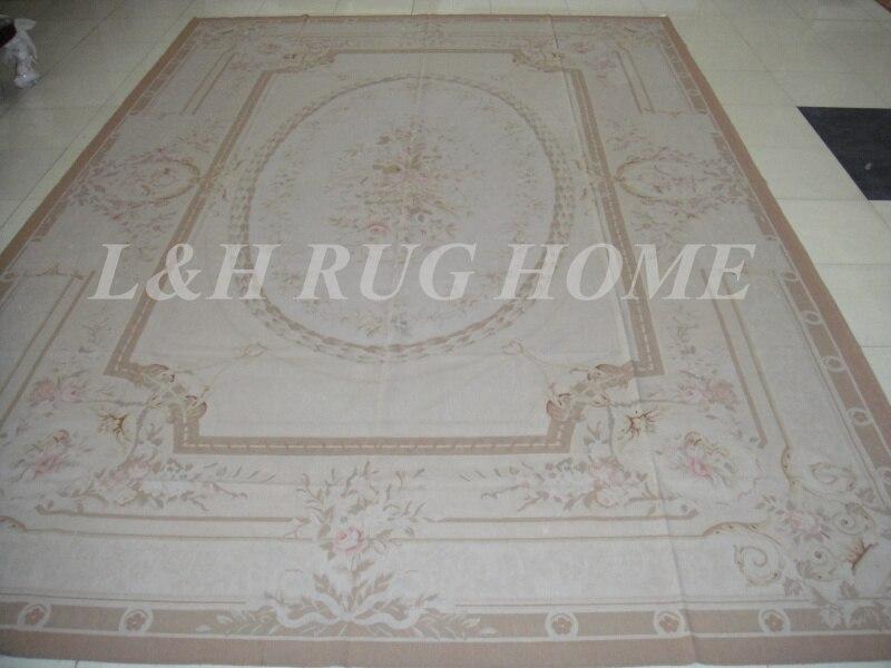 Livraison gratuite 11.95 'x18. 35' Aubusson tapis Beige medallian européen aubusson tapis à la main tapis pour la décoration de la maison