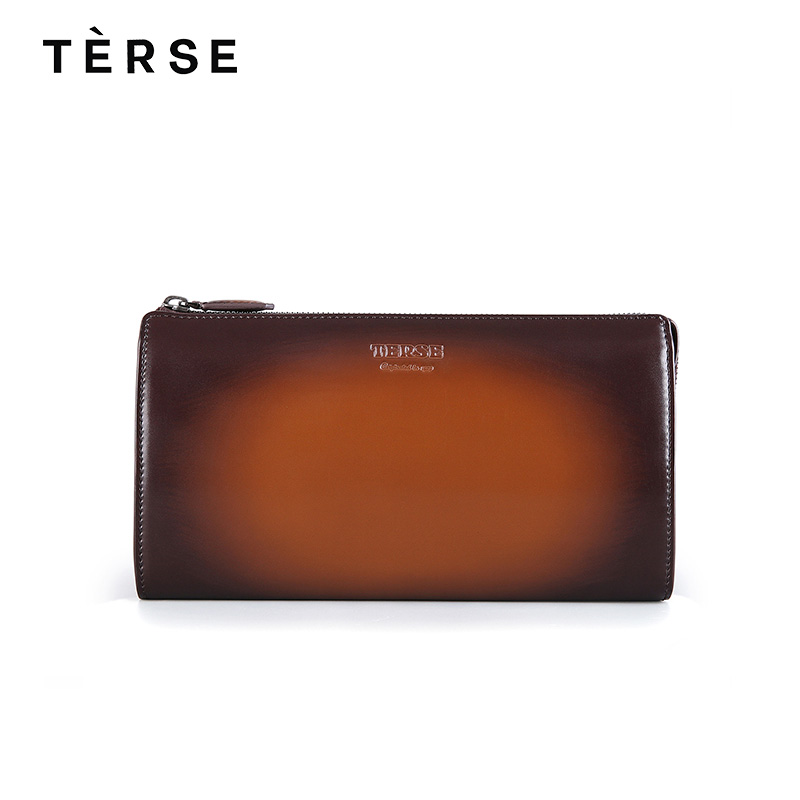 TERSE 2018 NEW Men`s Wallet Genuine Calf Leather Long Wallet Bag With Packets Solid Luxury Handmade Zipper Purse Clutches 9668