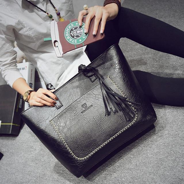 Vintage Women Messenger Bags With Tassel Large Capacity Women Bags Shoulder Tote Bags Famous Designers PU Leather Handbags 3