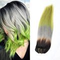 Ombre 3 tone color 1b grey green Clip in human hair extensions 7pcs 120g Full head clip ins hair extensions remy Human hair