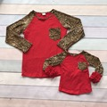 2016 new baby girls boutique cute T-shirt  fall/winter mother and child family look kids top clothes red Leopard pocket ruffles
