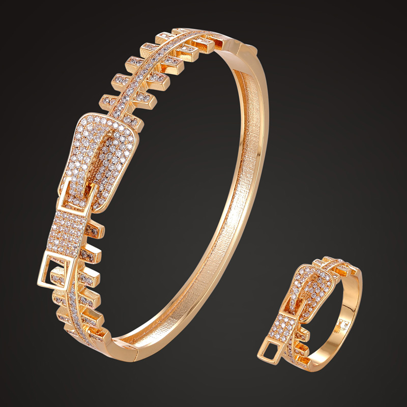 Zlxgirl copper cubic zircon bangle and ring Anniversary Jewelry sets brand Europe gold color Bracelet ring