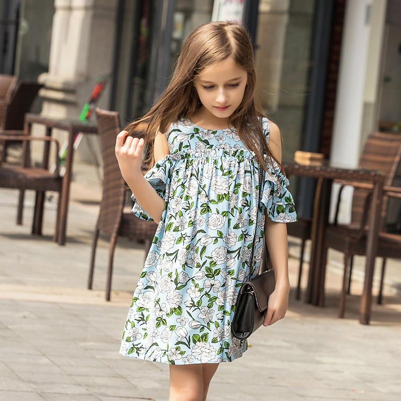 2017 Summer Children `s Dress Off The Shoulder Beach Dress Kids Girls Party Dress Kid Clothing Flower Chiffon Dress For 12 Years
