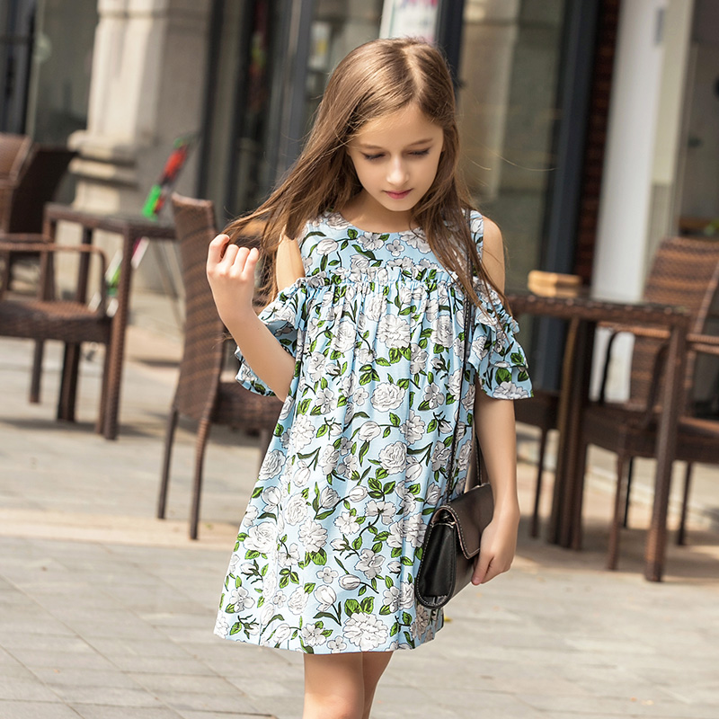 2017 Summer Children `s Dress Off The Shoulder Beach Dress Kids Girls Party Dress Kid Clothing Flower Chiffon Dress For 12 Years faux pearl beading open shoulder knot chiffon dress