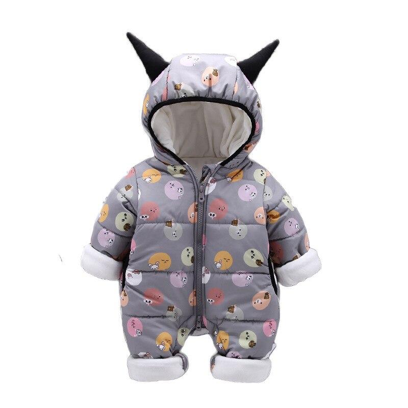 Sundae Angel Baby Boys Winter Warm Jumpsuit Hooded Embroidery Deer Pattern Velvet Antlers Infant Baby Girl Cotton Romper Clothes deer embroidery tee