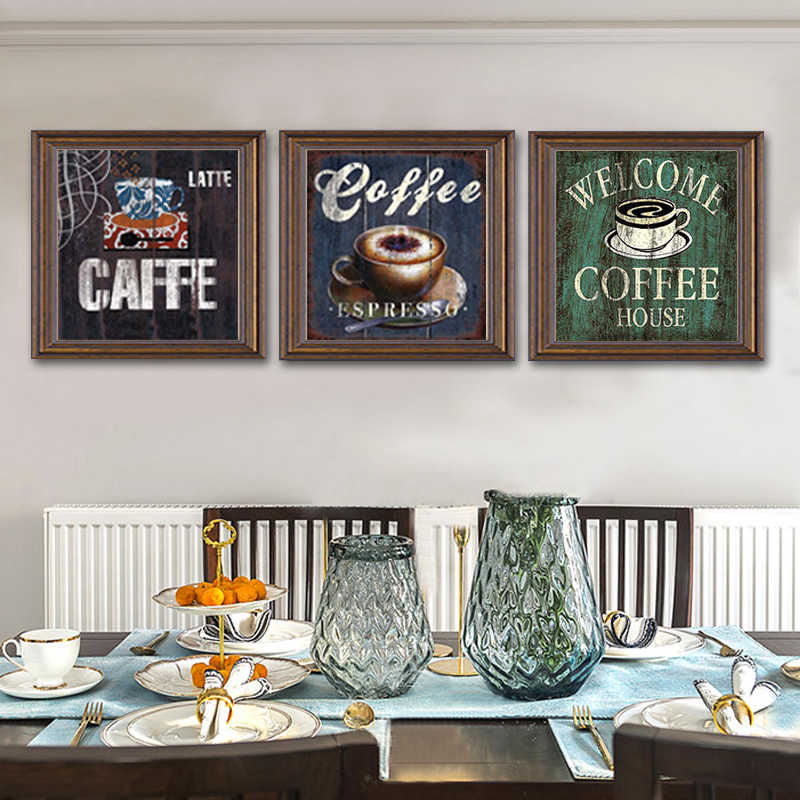 Vintage Coffee Canvas Painting Bar Cafe Poster Print Wall Art Printings Pictures Paintings for Living Room Kitchen Home Decor