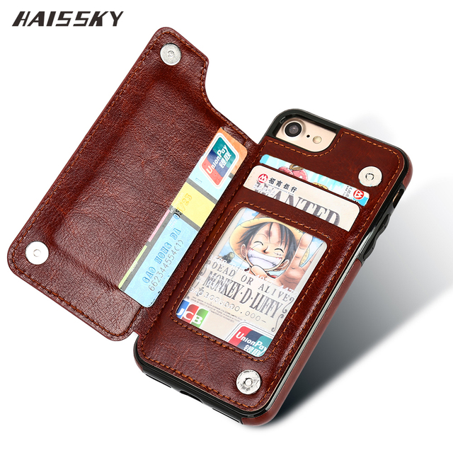 lowest price c5dd7 efeff US $4.39 10% OFF|HAISSKY Luxury Wallet Case For iPhone X XS Max XR Case  Leather Card Magnet Flip Cover Phone Case For iPhone 6 6s Plus 7 8 Plus-in  ...