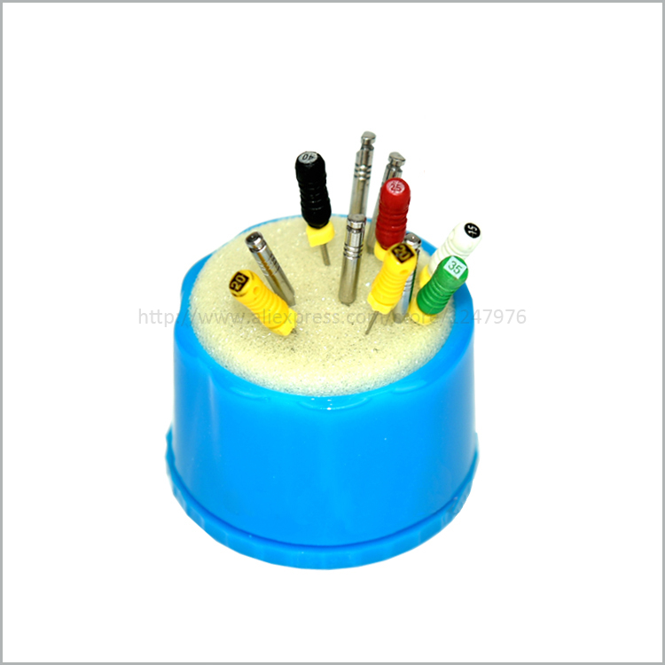 Dental Autoclavable Round Endo Stand Cleaning Foam Sponges File Holder Blue new