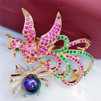 Chinese Mascot Phoenix Brooch For Women Red Green Stone Pave Bird Pins And Brooches Fashion Wedding